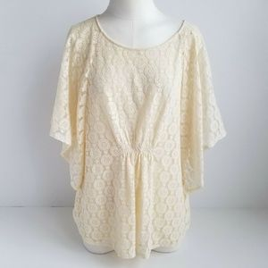 Chicos Sheer Lace Overlay Top